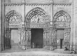 FRANCE Chartres Cathedral West Portal - SUPERB 1843 Lithograph Print
