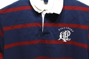 Polo Sport Men's XL Ralph Lauren Spell Out Striped Rugby Shirt Vintage 90's