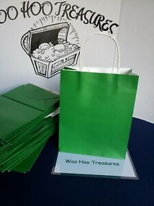 52 Solid Green Gift Kraft Bags 8quot; x 10quot; x 4quot; Any Occasion $35.00