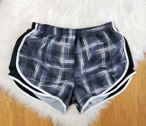 Nike Dri Fit Tempo Lined Running Shorts Black & Gray Plaid  Womens size Large