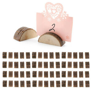 60 Pack Rustic Wooden Name Place Card Set Holders Wedding Party Stand Clip