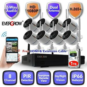 Wireless 2 Way audio NVR In Outdoor HD IR CUT Wifi Camera Home Security System $248.00