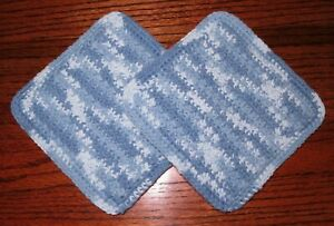 Handmade Crocheted Potholders 100% Cotton Double Thick Old Fashioned Set of Two