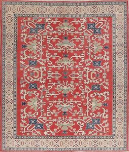 8x10 Geometric Super Kazak Oriental Area Rug Wool Hand-Knotted RED/IVORY Carpet