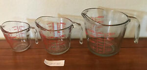 Set of 3 ANCHOR HOCKING Measuring Cups 4 cup 2 cup 1 cup Glass