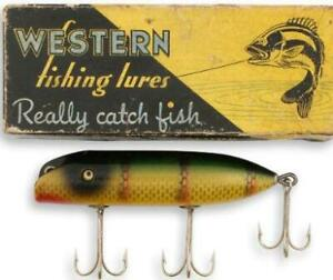 Shur Strike Old wood fishing lure glass eyes new in Western Auto box