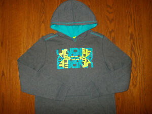 UNDER ARMOUR HEATHER GRAY HOODED SWEATSHIRT BOYS LARGE EXCELLENT CONDITION