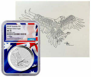 2019 P 1 oz Silver Wedge Tailed Eagle $1 NGC MS70 amp; Mercanti Lithograph $99.00