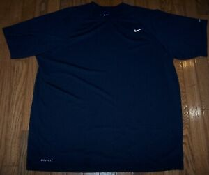 Nike DRI-FIT UPF 40+ Short Sleeve Compression Shirt NAVY BLUE Men's XL Pre-Owned