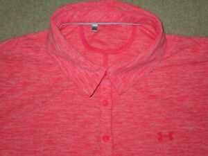 UNDER ARMOUR WOMEN'S GOLF POLO SHIRT PINK XL USED POLYESTER