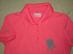 UNDER ARMOUR WOUNDED WARRIOR WOMEN'S GOLF POLO SHIRT GRAY SMALL POLYESTER USED