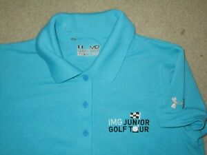 UNDER ARMOUR IMG JUNIOR GOLF TOUR WOMEN'S POLO SHIRT BLUE MEDIUM POLYESTER USED