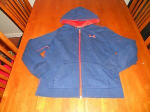 Under Armour boys hoodie size Y L youth large sweat shirt full zipper loose fit