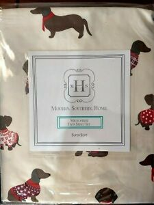 Modern Southern Home Holiday 3 pc Twin Sheet Set Cute Dachshund Dogs Sweaters