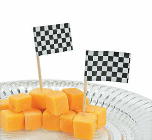 144 Race Car Checkered Flag Food PICKS fruit cheese cupcakes meats
