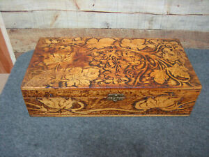 Wooden Box with Burned Design $22.50