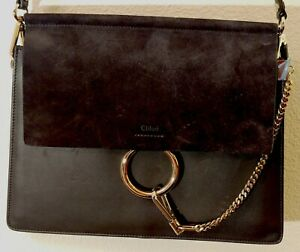 Designer Black Chloe Faye leather shoulder bag with brass fittings