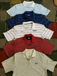NICE LOT 5 UNDER ARMOUR NIKE GOLF POLO SHORT SLEEVE STRIPED SHIRT MENS M POLY