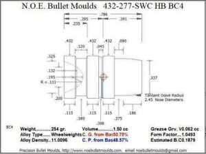 Bullet Mold 4 Cavity Brass .432 caliber Hollow Base 277 Grains bullet with a Se