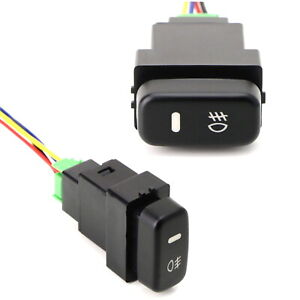 Factory Style 4 Pole 12V Push Button Switch w LED Indicator Light For Mitsubishi