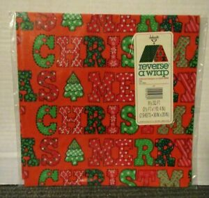 VINTAGE REVERSE A WRAP Gift Wrapping Paper Merry Christmas Patchwork Polka Dot
