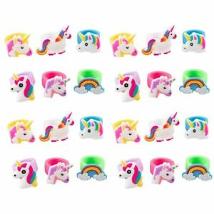 24 Pack Rubber Rainbow Unicorn Toy Rings for Girls Birthday Party Favors Gifts