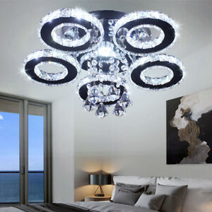 Modern Crystal Chandelier 5 Rings Ceiling Light Fixture Stainless Steel Pendant