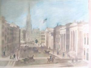 Antique 19th Century Wall Street New York 1850 Hand Colored Lithograph on Board $76.49
