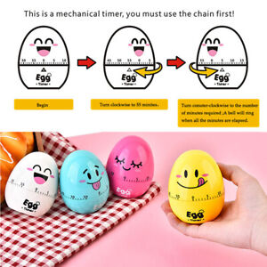 Cute Cartoon Egg Shaped Timer Ring Bell Alarm Loud 60-Minute Kitchen Cooking Aid