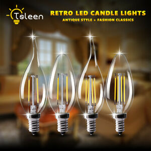 Classic Edison Filament COB LED Bulbs Glass Candle/Flame Light Evening Party Bar