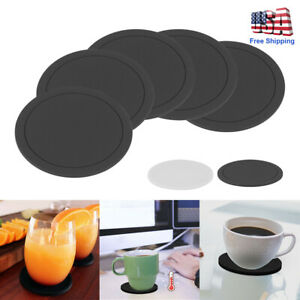 5pc Set Round Black Silicone Coasters Non-slip Cup Mats Pad Drinks Table Glasses