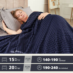 Heavy Gravity Weighted Blanket 15 / 20 lb Deep Sleep Reduce Stress + Duvet Cover
