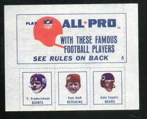 1966 American Oil Football Stamp Panel 1b T.FredericksonSam HuffGayle Sayers. $150.00