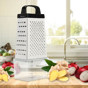 Stainless Steel Manual Cheese Vegetable Grater Box 4 Sided With Container Box US