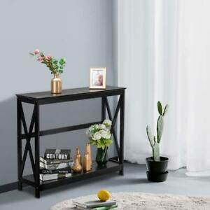 Modern Wood Console Table Sofa Accent with Shelf Stand Entryway Hall Furniture $45.69