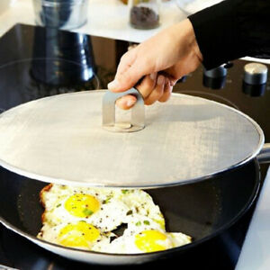 Foldable Kitchen Oil Proofing Lid Filter Handle Frying Pan Cover Splatter Screen
