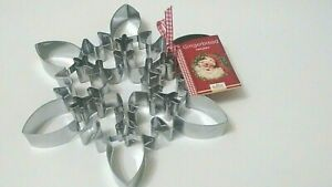 RBV BIRKMANN Large Snowflake Stainless Steel Cookie Cutter with Recipe Germany