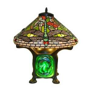 Tiffany Style Green Dragonfly Table Lamp - Turquoise Stained Glass