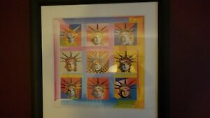 Nine Liberties Limited Edition Lithograph Peter Max - SIGNED w Cert of Authe