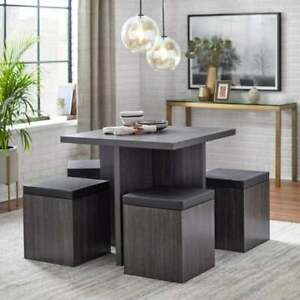 Dining Set Table With 4 Storage Ottomans 5 Piece Dining Set Black Weathered Fin