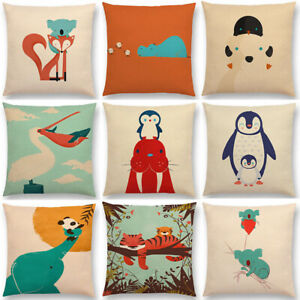 Penguin Home Cover Animals Decor Cover Waist Cotton Linen Cushion Pillow Case $2.96