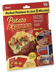 Potato Express Microwave Baked Potato Cooker Bag with Recipe Guide NEW From USA!
