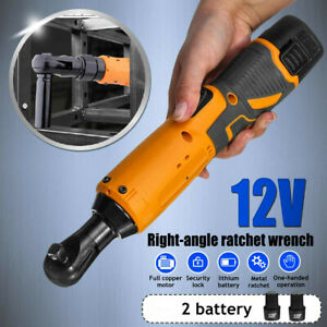 3/8'' 12V Electric Cordless Ratchet Right Angle Wrench Tool Set + 2 Battery