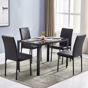 Hot 5 PIECE Glass Metal Dining Table Furniture 4 Chairs Breakfast Kitchen Room $168.99