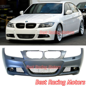 M-Tech Style Front Bumper Cover + Fog Lights Fit 09-11 BMW E90 E91 4dr 3-Series