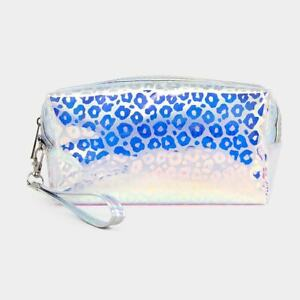 NEW Holographic Leopard Spots Animal Print Makeup Cosmetic Bag Pouch Wristlet