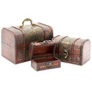 3 Piece Wooden Treasure Box Keepsake Box Treasure Chest with Flower Motif $14.99