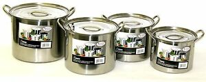 Stainless Steel Stockpot Pot Set 6/8/12/16 QT Quart Beer Brewing Soup Chili NEW!