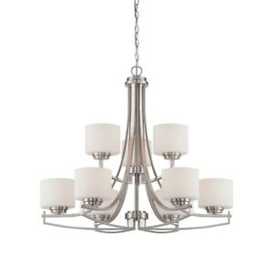 Designers Fountain Axel 9 Light Chandelier Satin Platinum - 86289-SP
