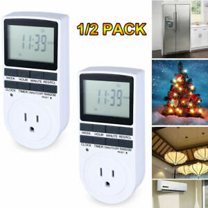 1-2x Indoor 24-Hour Plug In Daily Mechanical 2 Outlet Timer Light 3 Prong Switch